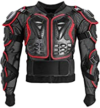 Motorcycle Full Body Armor Protective Jacket ATV Guard Shirt Gear Jacket Armor Pro Street Motocross Protector with Back Protection Men Women for Off-Road Racing Dirt Bike Skiing Skating Red S