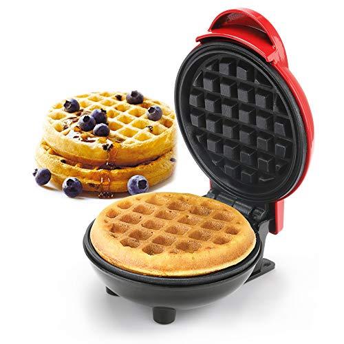 GUJIN Waffeleisen Maschine Mini, 4.80 3.46 in Edelstahl 350W Haushalts Elektrischer Kuchen Hersteller für Pfannkuchen, Plätzchen, Chaffle, Gesunde Snacks, Mini Burger, Belgische Waffel
