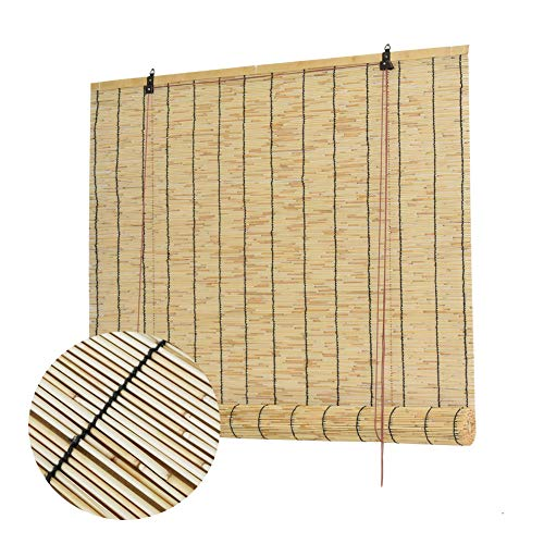 L-KCBTY Rollo Bambus Bambusrollo Blickdicht Vintage-Dekorationen Für Fenster,Terrasse,Innen-,Außen-Sonnenschutz Atmungsaktiv/Isolierung Bambus Jalousie(anpassbar)