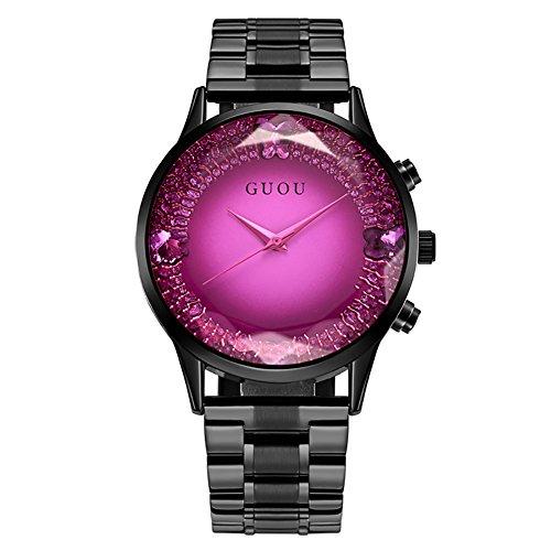 TMISHION Relojes Grandes para Mujer, Estilo dial, Banda de Reloj Mujer, Reloj de Pulsera de Cuarzo Elegante para Mujer, Reloj a Prueba de Agua (Esfera Morada)