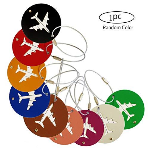 AIJIANG - Etiquetas para equipaje, 9 unidades, color al azar, redondas, de aleación de aluminio, para maleta, etiqueta, nombre, dirección y equipaje