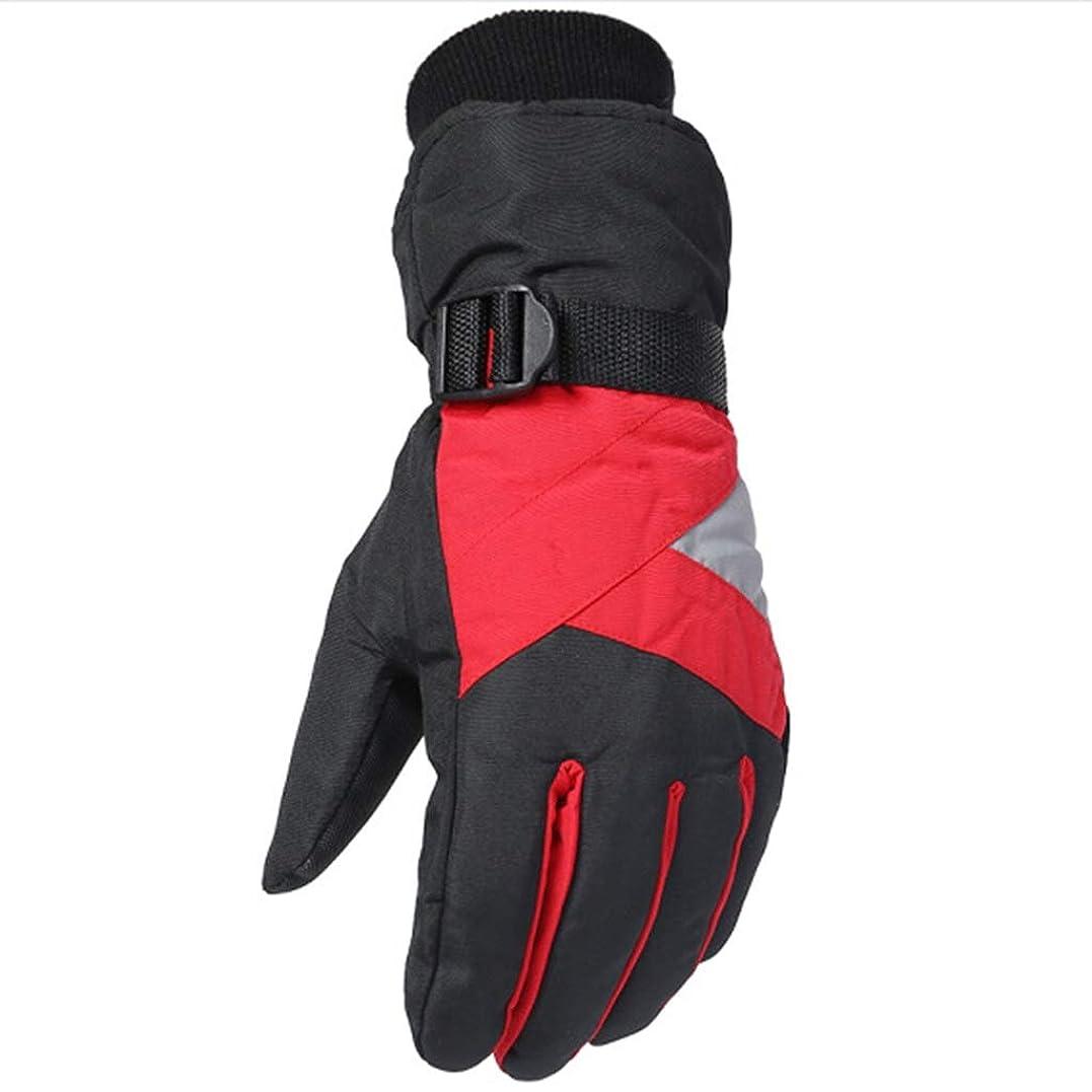 新しさ任命する集中手袋の男性の冬プラスベルベット厚手の暖かいスキーグローブは、凍結防止の登山手袋を運転する (色 : Red)