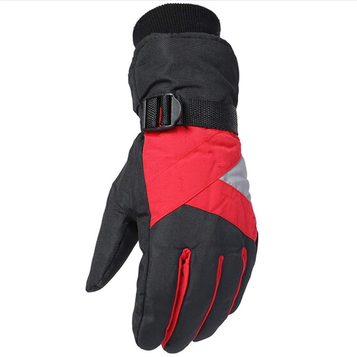 韓国語姿勢不承認手袋の男性の冬プラスベルベット厚手の暖かいスキーグローブは、凍結防止の登山手袋を運転する (色 : Red)