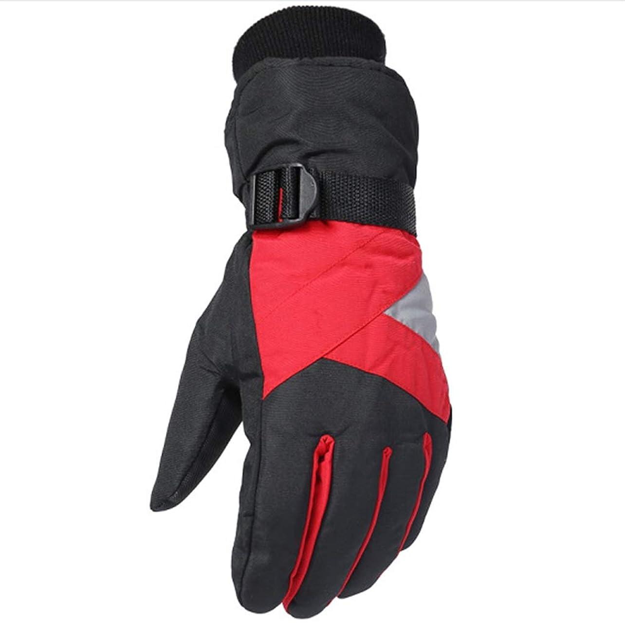 衝突する検出可能喜び手袋の男性の冬プラスベルベット厚手の暖かいスキーグローブは、凍結防止の登山手袋を運転する (色 : Red)