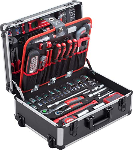 Meister Werkzeugtrolley 156-teilig - Werkzeug-Set - Mit Rollen - Teleskophandgriff / Profi...