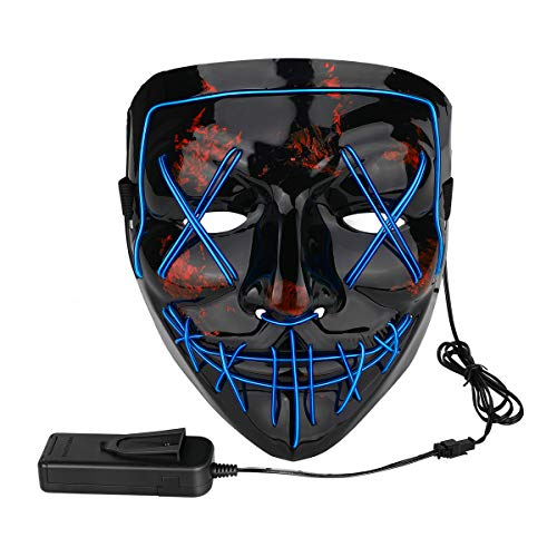 Poptrend Halloween Mask LED Light up Mask for Festival Cosplay Halloween Costume Masquerade Parties,Carnival,Gifts(blue)