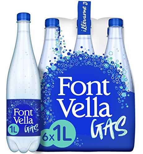 Font Vella Gas, agua mineral natural con gas - pack de 6 x 1L