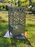 Steelbutze | Design Feuerkorb Elegance | Aus Metall rostend 67x32x32cm | Formstabil 3mm dick | Für Garten & Terrasse