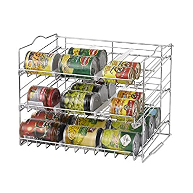 Finnhomy Chrome Stackable Can Organizer Can Rack Storage for 36 cans Stack Another Set on Top to Double Your Storage Capacity (Chrome Finish)
