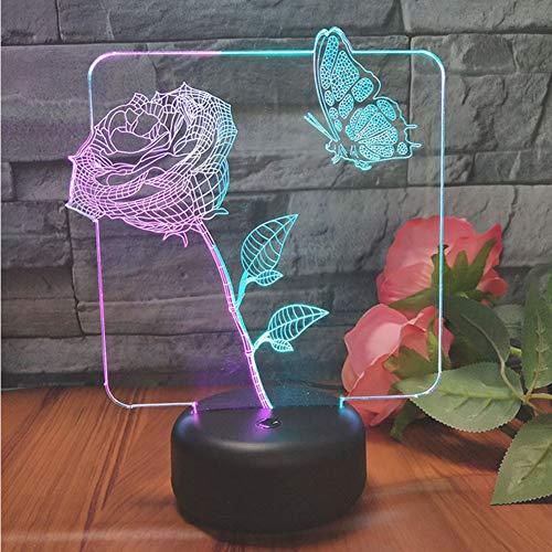 Lampe de Table de Bureau 3D Illusion Optique Butterfly 7 Couleurs Change