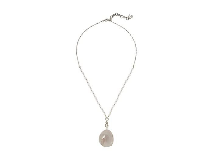 Lucky Brand  Beaded Chain and Set Stone Necklace (Silver) Necklace
