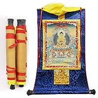 掛軸、掛軸中華風彫りシャフトシルク刺繡チベットタンカリール仏教釈迦牟尼壁掛け家/仏教寺院装飾風水寝室タペストリー編み物家の装飾瞑想 ゴータマ、シッダールタ 曼荼羅 浄土真宗 大日如来-ミディアム