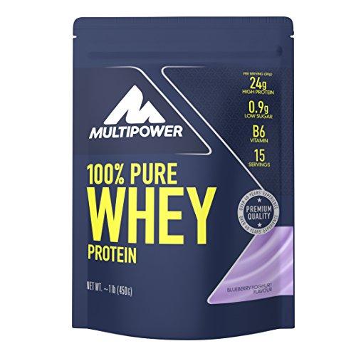 Multipower 100% Pure Whey Protein – wasserlösliches Proteinpulver mit Blueberry Yoghurt Geschmack – Eiweißpulver mit Whey Isolate als Hauptquelle – Vitamin B6 und hohem BCAA-Anteil – 450 g