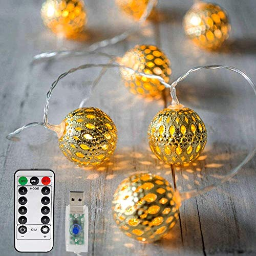 Vegena LED Lichterkette,20 Led 3M Marokkanische Lichterkette 8 Modi Dimmbar mit Fernbedienung, Kugeln Orientalisch Weihnachtslichterkette Mit USB NICHT batteriebetrieben,Warmgelb