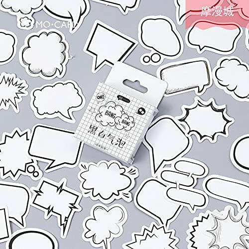 YOUKU Pegatinas en Caja Originales Burbuja Blanca y Negra Caja de diálogo de Cuenta de Mano Creativa Ins Caja de diálogo DIY Pegatinas de decoración 45 Piezas