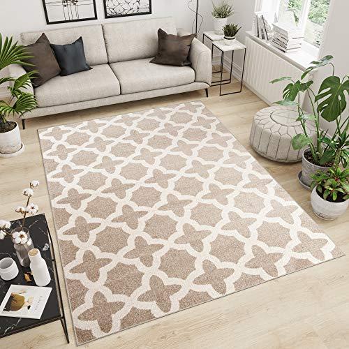 TAPISO Maroko Tappeto Camera Soggiorno Salotto Moderno Marocchino Beige Ecrù Geometrico Mosaico A Pelo Corto 140 x 190 cm