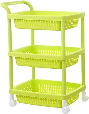 Amazon.com: Carrito de cocina con cestas de almacenamiento y ...