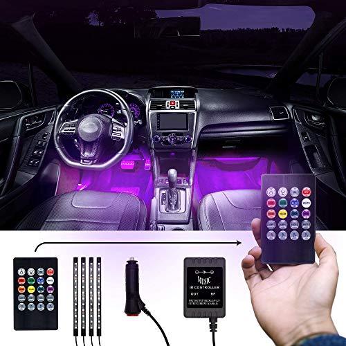 MILANIKA® Auto Innenbeleuchtung LED 12V - [4x] LED Streifen mit jeweils [12x] LED Lampen - mit Zigarettenanzünderverbindung & Fernbedienung - inkl. [10x] Kabelbinder & Kabelhalter