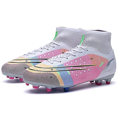 YUHAI Top Top Football Boots para Hombres Clases Entrenadores Profesionales Zapatos de Fútbol Entrenamiento Atletismo Sneakers Unisex,White Long Nails-39