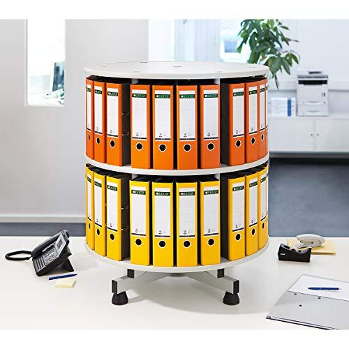 Ordner-Drehsäule | HxØ 930 x 800 mm | 2 Etagen | Hellgrau | Akten-Ablage Drehsäule für Ordner Drehsäulen für Ordner Ordnerdrehsäule Aktenrondell