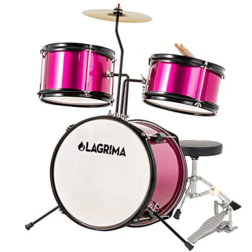 LAGRIMA 3 Piece Kids Drum Set with Adjustable Throne, Cymbal, Pedal & Drumsticks, Rose Red