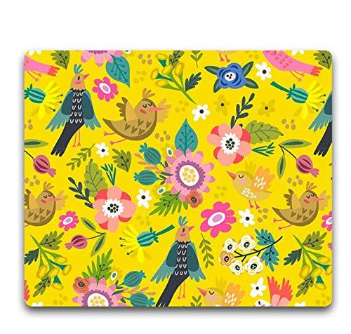 Gaming-Mauspad, Verschleißfestes Gummi, Mehrfarbige Blumen Und Mehrfarbige Vögel, Tragbares Laptop-Office-Gaming-Mauspad