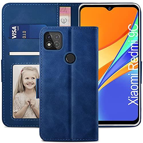 YATWIN Handyhülle Kompatibel mit Xiaomi Redmi 9C Hülle, Klapphülle Xiaomi Redmi 9C Premium Leder Brieftasche Schutzhülle [Kartenfach] [Magnet] [Stand] Handytasche Hülle für Redmi 9C Hülle, Blau
