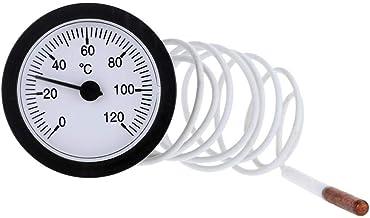 Buding - Termómetro capilar con sensor de 1,5 m 0-120 °C para medir agua líquida para calderas, sistemas de calefacción y refrigeración