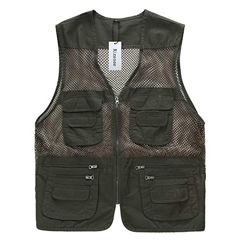 Rizanee Unisex Mesh Breathable Fishing Vest, Multi-Pockets Photography Travel Hiking Waistcoat Jacket for Adults and Youth (Army Green, US S - TAG L)