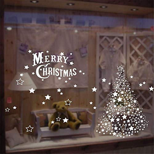 YGB Christmas Window Stickers White Christmas Tree Stickers Stars Removable Wall Stickers PVC Wall Decoration Window Decoration for Living Room Office Store