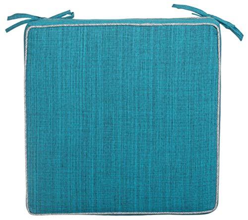 Brandsseller Coussins de chaise d'extérieur avec passepoil - Aspect lin uni - Résistant à la saleté et à l'eau avec bandes de fixation - 40 x 40 x 4 cm - Individuels - Turquoise
