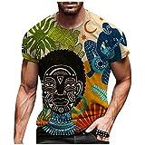 Men's African Print Streetwear Shirt Black Men Dashiki Fashion T-Shirt Tops