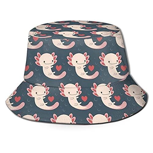 XCNGG Axolotls Hearts and Bubble Unisex Summer Sun Bucket Hat Gorra de Playa
