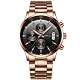CRRJU Men's Watches Fashion Casual Chronograph Date Quartz Wristwatches,Stainsteel Steel Band Waterproof Watch (Rose Black)