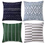 Boho Throw Pillow Covers or Decorative Pillow Cases for Couch, Sofa or Modern Living Room, Set of 4 Bohemian 18 X 18 Inches Cushion Cover or Accent Pillows for Farmhouse, 100% Cotton, Scuba Set