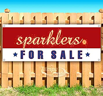 Sparklers for Sale Red Striped Sparkling Text 13 oz Banner Heavy-Duty Vinyl Single-Sided with Metal Grommets