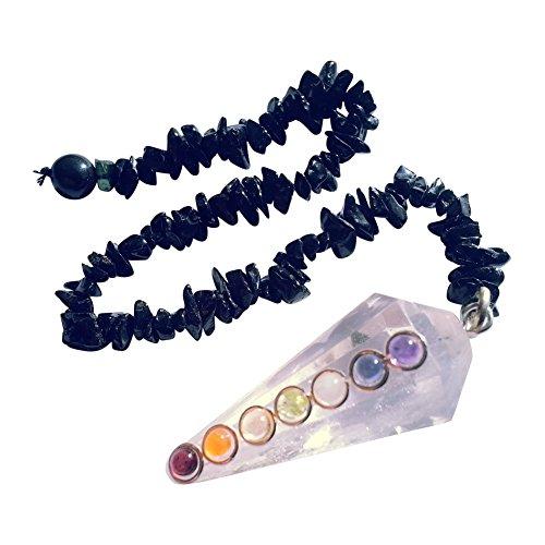 7 chakra bergkristal slinger met zwarte toermalijn splitter ketting