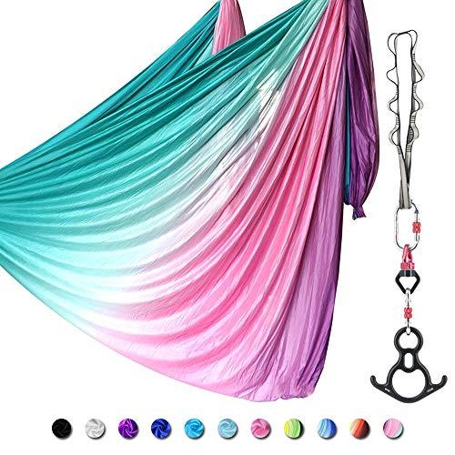 SAIVEN - Juego de columpio de yoga de alta calidad, kit de hamaca para yoga aéreo, kit de iniciación de yoga, equipo de danza aérea (L: 10 m x ancho: 2,8 m), Gradiente Rosa
