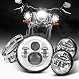 Dot Appoved Chrome 7inch LED Headlight with 4.5inch Matching Chrome Passing Lamps Compatible with Harley Motorcycles with Adapter Ring and wire adapter