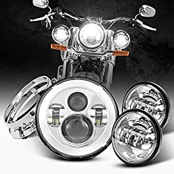 """professional 4.5 """" chrome headlights that match the dot chrome 7 """" LED headlights for Harley…"""