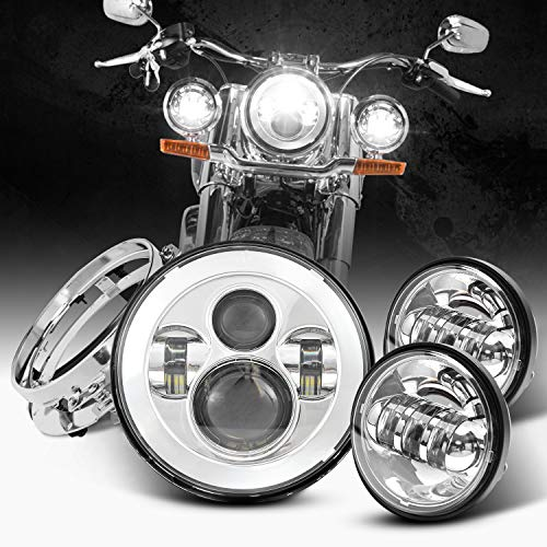 Dot Appoved Chrome 7inch LED Headlight with 4.5inch Matching...