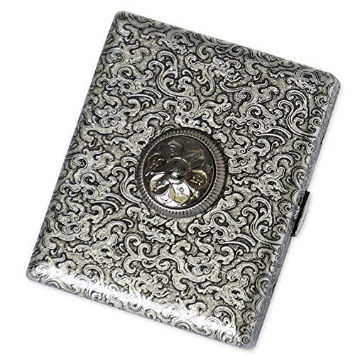 BNVN Classic Metallic Silver Color Double Sided King Cigarette Case Etched Design Modern Cigarette Case for Women Men Metal Full Pack