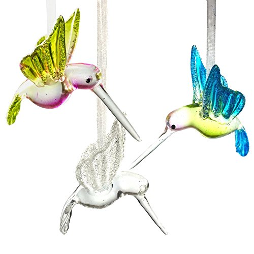 BANBERRY DESIGNS Hummingbird Glass Ornaments with Glitter Accents - Set of 3 - Handblown Ornament - Holiday Decorations Christmas Tree Ornaments Xmas Gift for Bird Lover