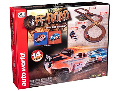 Auto World HO Scale Off Road Electric Racing Slot Car Set with 14-Foot Race Track (SRS328)