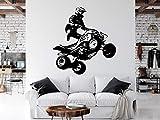 Tamengi ATV Rider Wall Decal, Quad Wall Decor 4X4 Wheeler Offroad Bedroom Dirt Bike Gift Free Stickers Art Vinyl Sport Wall Art Room Vinyl 50' Wide