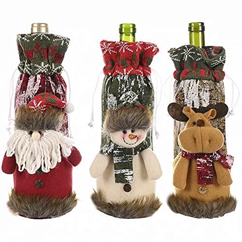 3 piezas de Navidad de punto botella de vino bolsa de regalo cubierta de piel sintética Santa muñeco de nieve reno botella de vino cubierta de vajilla para Navidad Año Nuevo Decoración