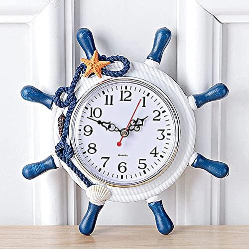 Mediterranean Style Wooden Ship Steering Wheel Outdoor Garden Wall Clock,4 in Home Decoration Wall Clock Large Outdoor Clock Decoration Nautical Silent Beach Sea Theme Outside Wall Clock,Type a
