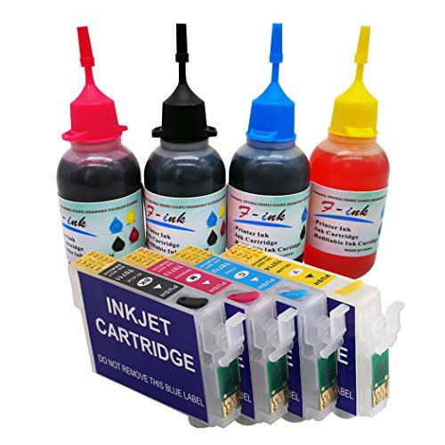 27XL Wiederaufladbare Tintenpatronen und 4 x 50 ml Tinte , kompatibel mit WorkForce WF-3640DTWF WF-7110DTW WF-7610DWF WF-7620DTWF WF-7720DTWF WF-7715DWF WF-7710DWF WF-7210DTWF