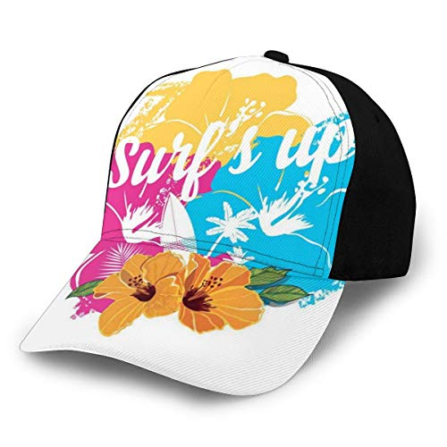 Hip Hop Sun Hat Baseball Cap,Tropical Hawaiian Hibiscus Flower Bouquet and Surf Up Phrase with Paddle Board,For Men&Women