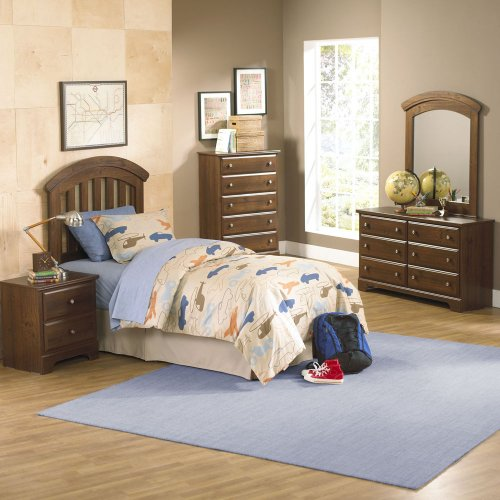Hot Sale Standard Furniture Parker 5 Piece Kids Headboard Bedroom Set In Golden Brown Cherry